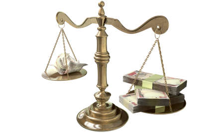 disparity: An old school bronze justice scale with stacks of indian rupee money on one side and a few crumpled notes on the other representing the inequality in the income gap  an isolated white background Stock Photo