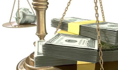 balanza justicia: Una vieja escala de la justicia de bronce escuela con fajos de billetes d�lares por un lado y algunas notas arrugadas por el otro
