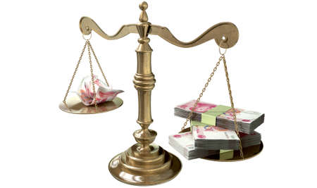 disparity: An old school bronze justice scale with stacks of chinese yuan money on one side and a few crumpled notes on the other