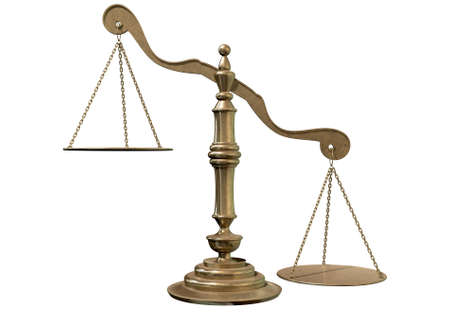 dissimilarity: An empty bronze justice scale with one side outweighing the the other on an isolated background