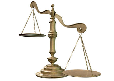 unfairness: An empty bronze justice scale with one side outweighing the the other on an isolated background