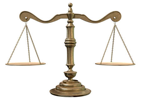 tipping: An old school bronze justice scale with flate weighing plates connected by chains on an isolated white background Stock Photo