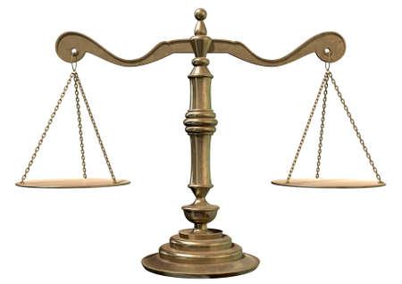 balanza justicia: Una vieja escala de la justicia de bronce escuela con placas flate pesaje conectados por cadenas en un fondo blanco aislado Foto de archivo
