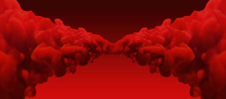 merging: An abstract view if two merging symmetrical jets of thick red bulbous ink on a red background