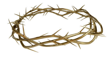 Branches of thorns made of gold woven into a crown depicting the crucifixion on an isolated
