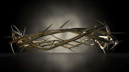 jesus christ crown of thorns: A eye level view of a gold casting sculpture of branches of thorns woven into a crown depicting the crucifixion on a dark reflective surface spotlit by an eerie light