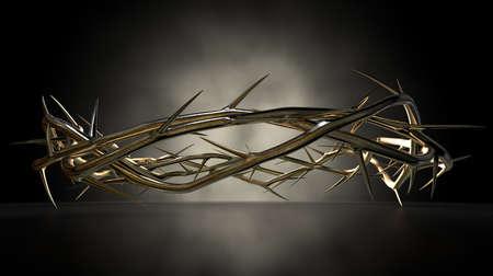 the crown of thorns: Una vista del nivel del ojo de una escultura de fundici�n de oro de las ramas de espinos entretejidos en una corona que representa la crucifixi�n en un spotlit superficie reflectante oscuro por una luz misteriosa