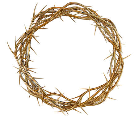 jesus christ crown of thorns: Branches of thorns made of gold woven into a crown depicting the crucifixion on an isolated background Stock Photo
