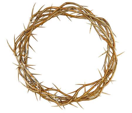 corona de espinas: Las ramas de espinas de oro entretejidos en una corona que representa la crucifixión en un fondo aislado Foto de archivo