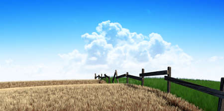 withering: A meadow symmetrically cut split by a wooden fence with one side flourishing and the other withering symbolising the saying greener pastures on a blue sky background