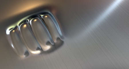 resulting: A flat sheet of metal punched on the opposite side resulting in a extruded fist shaped dent