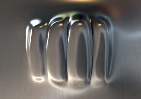 indent: A flat sheet of metal punched on the opposite side resulting in a extruded fist shaped dent