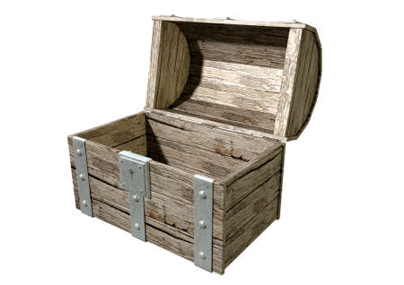 treasure trove: An open empty old classic wood and iron treasure chest with a metal lock on an isolated background