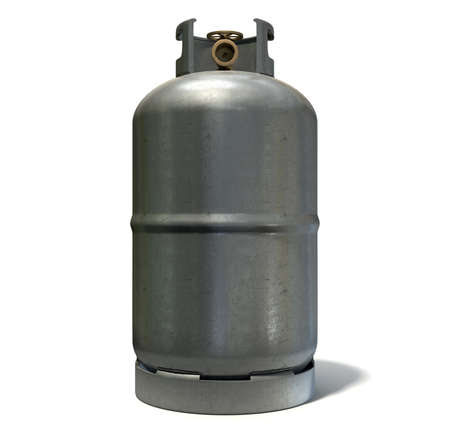 unbranded: A clean unbranded metal gas cylinder with a bronze valve on an isolated white background