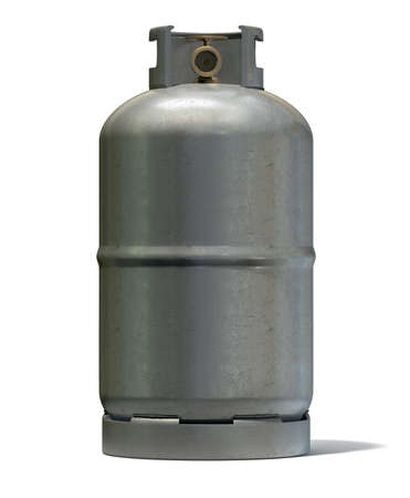 A clean unbranded metal gas cylinder with a bronze valve on an isolated white background photo