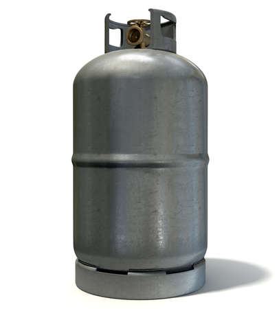 A clean unbranded metal gas cylinder with a bronze valve on an isolated white background Stock Photo - 26618683