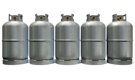 A row of five clean unbranded metal gas cylinders with bronze valves on an isolated white background photo