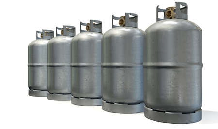 compressed: A row of five clean unbranded metal gas cylinders with bronze valves on an isolated white background
