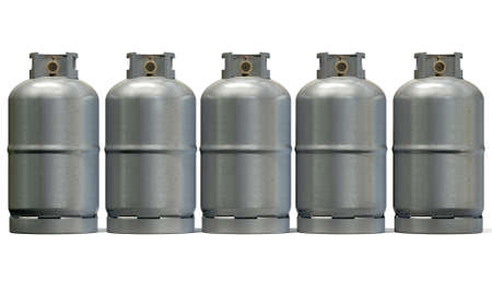 A row of five clean unbranded metal gas cylinders with bronze valves on an isolated white background Stock Photo - 26618642