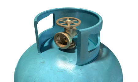 gas cylinder: A closeup of the valve of a clean unbranded blue metal gas cylinder on an isolated white background