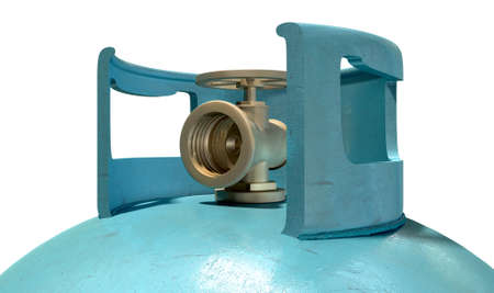 A closeup of the valve of a clean unbranded blue metal gas cylinder on an isolated white background photo