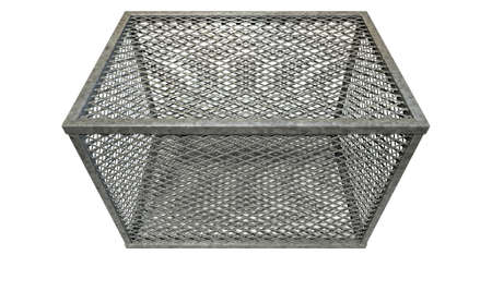 galvanised: A rectangular steel cage covered in diamond mesh wiring on an isolated white background Stock Photo