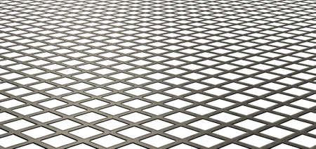A flat texture of metal galvanised diamond mesh on an isolated white background photo