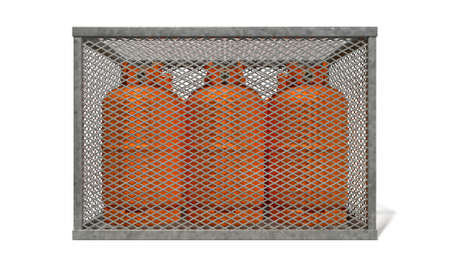 propane tank: A rectangular steel cage covered in diamond mesh wiring with orange gas bottles inside on an isolated white background