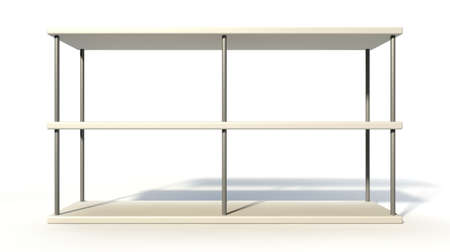 A rendered metal freestanding shelf on an isolated white background  photo