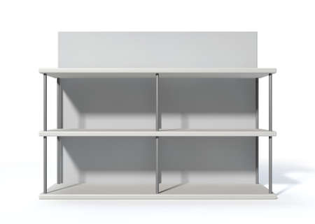 white backing: A rendered metal freestanding shelf with a blank backing board on an isolated white background