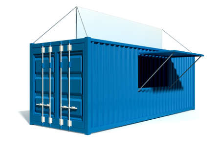 township: A render of a blue shipping container converted into a township spaza shop on an isolated white background Stock Photo