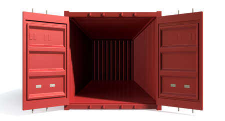 A render of a red shipping container with open doors and empty inside on an isolated white background Stock Photo