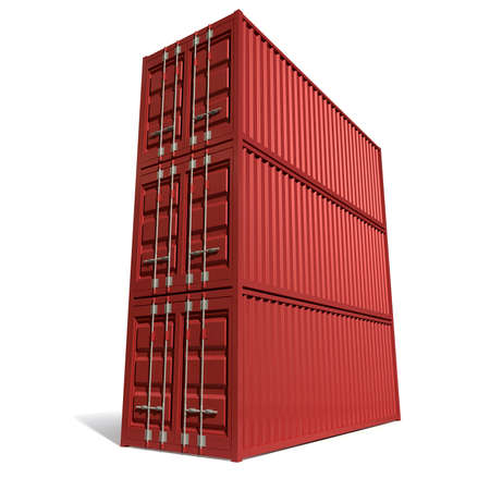 dockyard: A render of a stack of three red shipping containers on an isolated white background Stock Photo