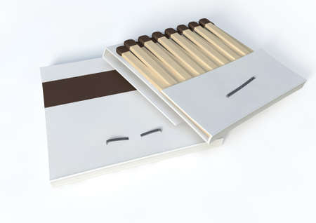 unbranded: Two books of matches made with wood with blue tips in generic white unbranded cardboard books on an isolated background Stock Photo