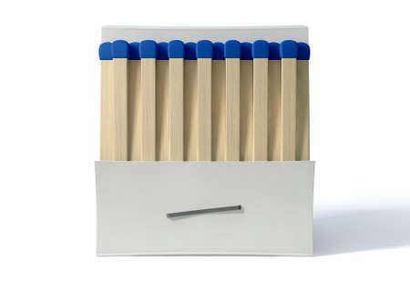 unbranded: An open book of matches made with wood with blue tips in a generic white unbranded cardboard book on an isolated background Stock Photo