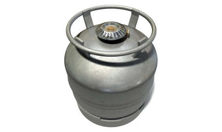 propane tank: A regular metal gas bottle with a burner attachment to facilitate using it as a stove top for cooking on an isolated white background