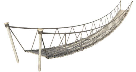straddle: A rope bridge made of wooden planks held together by rope and secured by wooden pegs on an isolated white background
