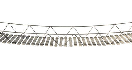 A rope bridge made of wooden planks held together by rope and secured by wooden pegs on an isolated white background