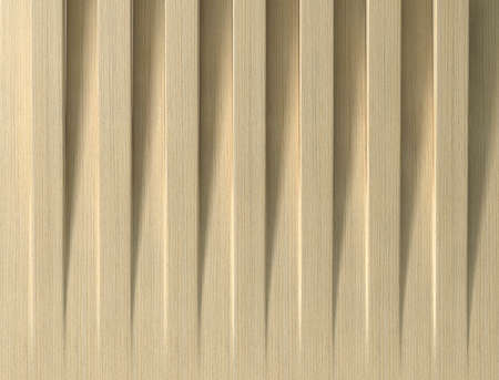 alternate: A series of wooden birch slats laid side by side with each alternate on raised to reveal a shadow pattern Stock Photo