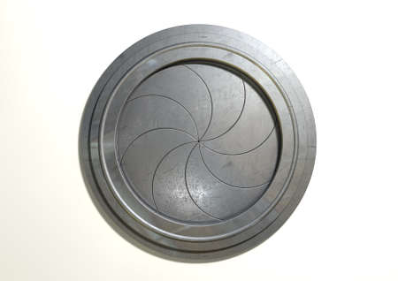 portal: A futuristic round mechanical portal with a sphincter type mechanism on an isolated white background