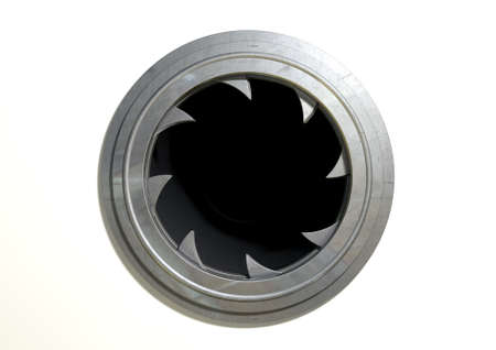 A futuristic round mechanical portal with a sphincter type mechanism on an isolated white background Stock Photo - 26959662