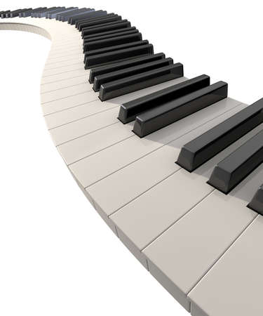 A full set of regular piano keys laid out creating a wave on an isolated white background  Stock Photo