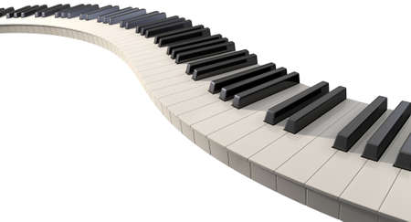 piano: Un juego completo de llaves regulares de piano expuso creando una onda en un fondo blanco aislado