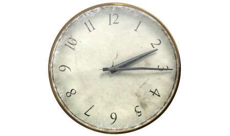 embellished: An extreme closeup of a worn antique pocket watch on a white studio background Stock Photo