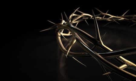 Zweige der Dornen aus Gold in einer Krone, welches die Kreuzigung auf einem isolierten dunklen Hintergrund gewebt