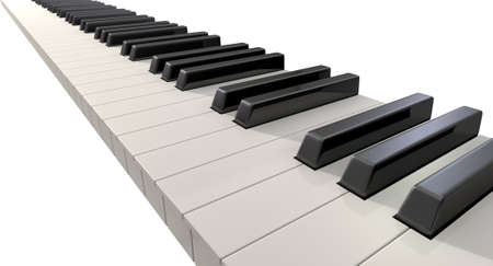 fingerboard: A full set of regular piano keys on an isolated white background  Stock Photo