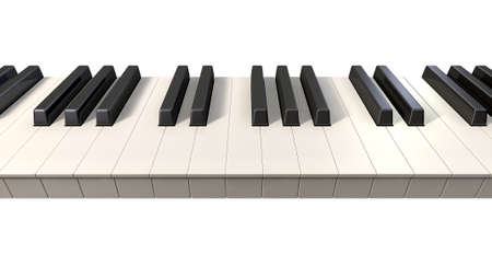 A full set of regular piano keys on an isolated white background  photo