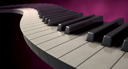 A full set of regular piano keys laid out creating a wave on a moody color background  photo