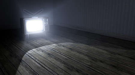 irradiate: An old empty dark room with wallpaper and wooden floors and a switched on vintage television illuminating it with a spotlight effect Stock Photo