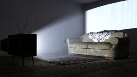 unpretentious: An old empty dark room with wallpaper and wooden floors and a switched on vintage television illuminating a solitary old floral couch